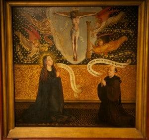 Иисус на кресте с Марией и донатором