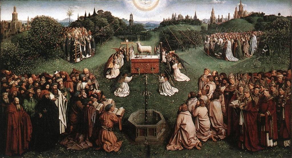 Поклонение агнцу (центральная панель)